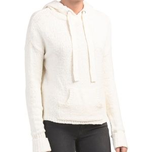 soft off white knit hoodie